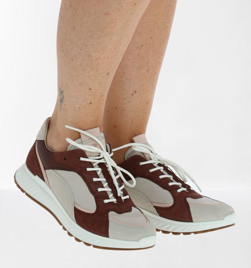 ECCO Chaussures à Lacets en Beige/Bordeaux en cuir (280886)