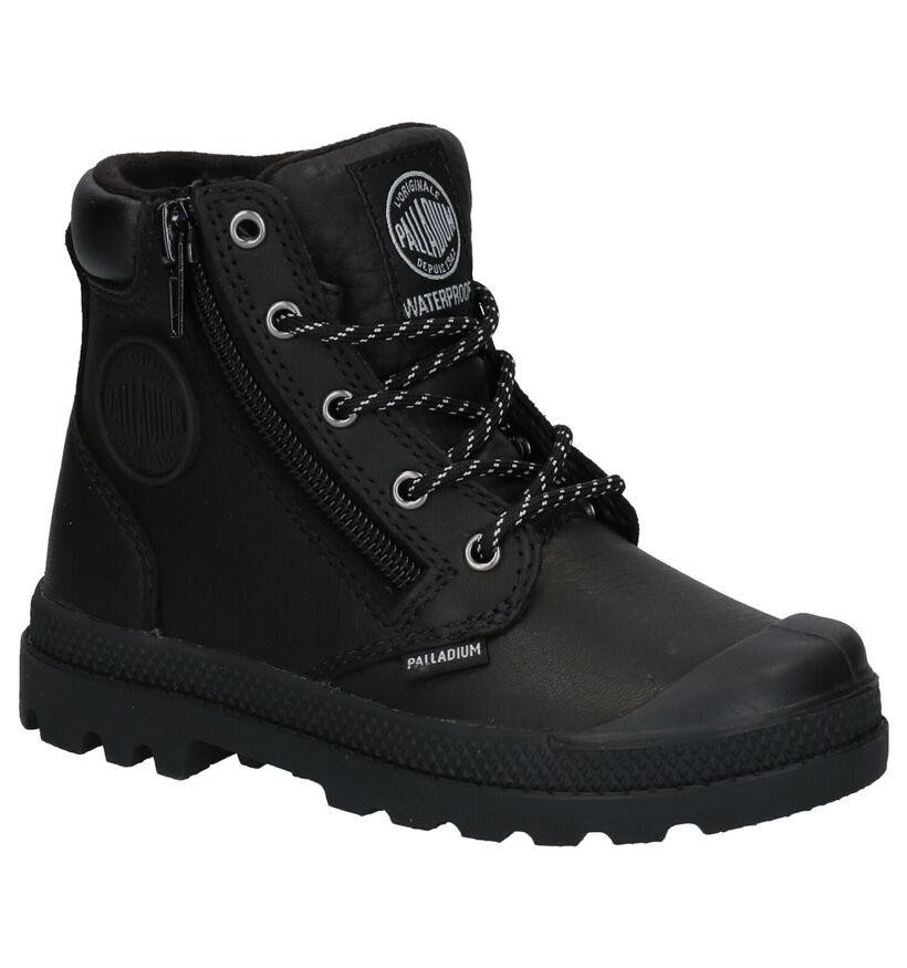 Palladium Pampa Hight Cuff Zwarte Boots in leer (277220)