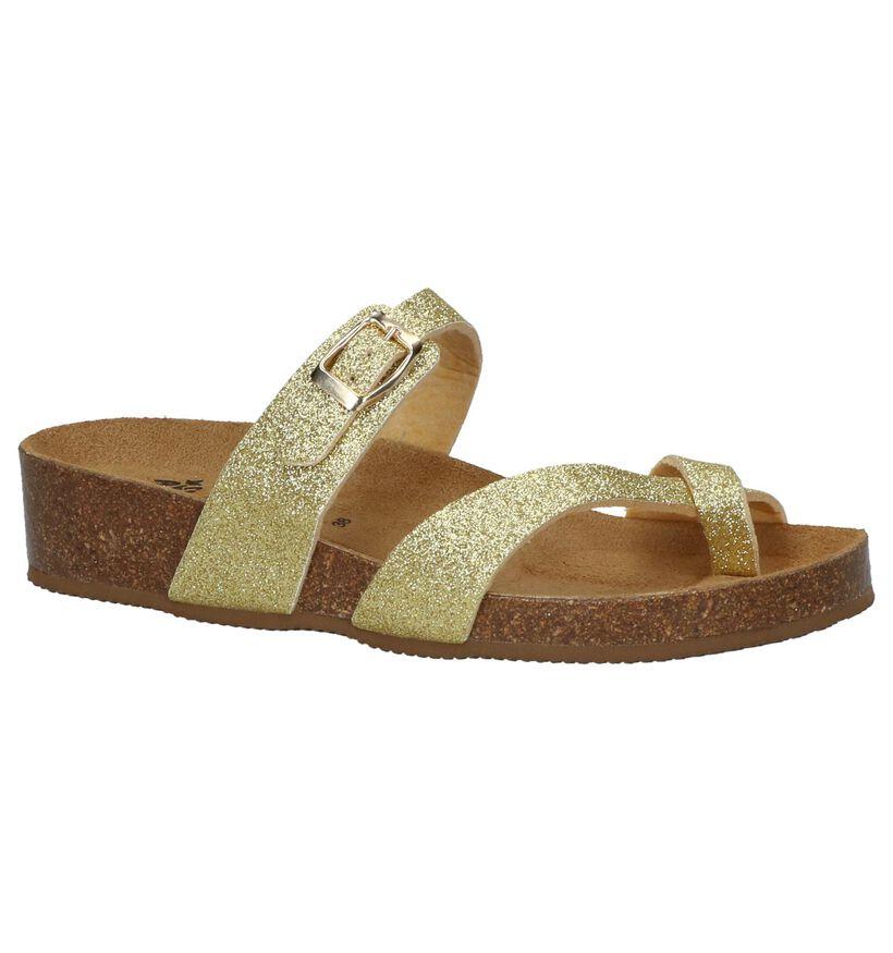 Big Leaf Nu-pieds à talons en Or en simili cuir (209652)
