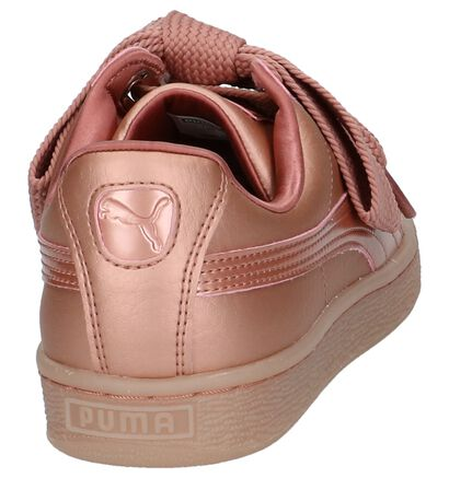 Puma Basket Heart Baskets basses en Or rose en simili cuir (207274)