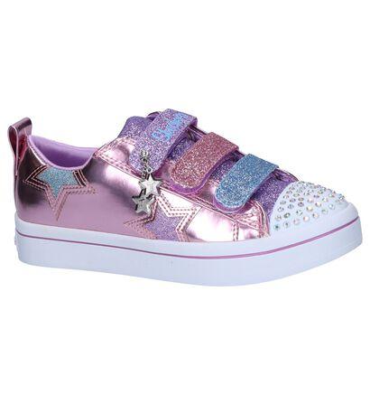 Zilveren Velcroschoenen met Lichtjes Skechers, Roze, pdp