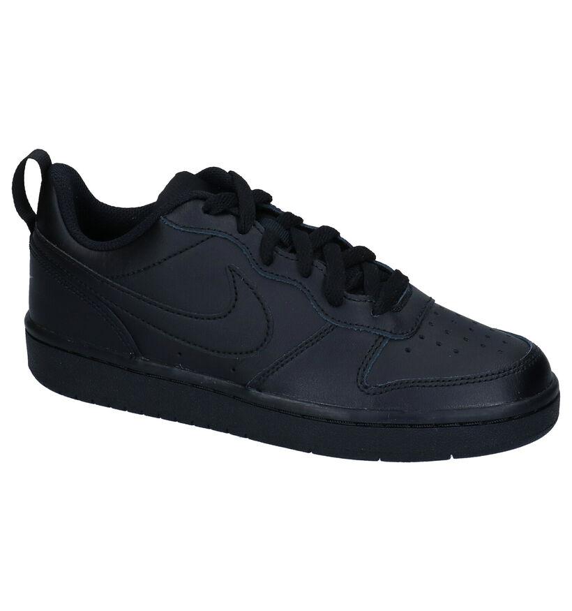 Nike Court Borough GS Zwarte Sneakers in kunstleer (274560)