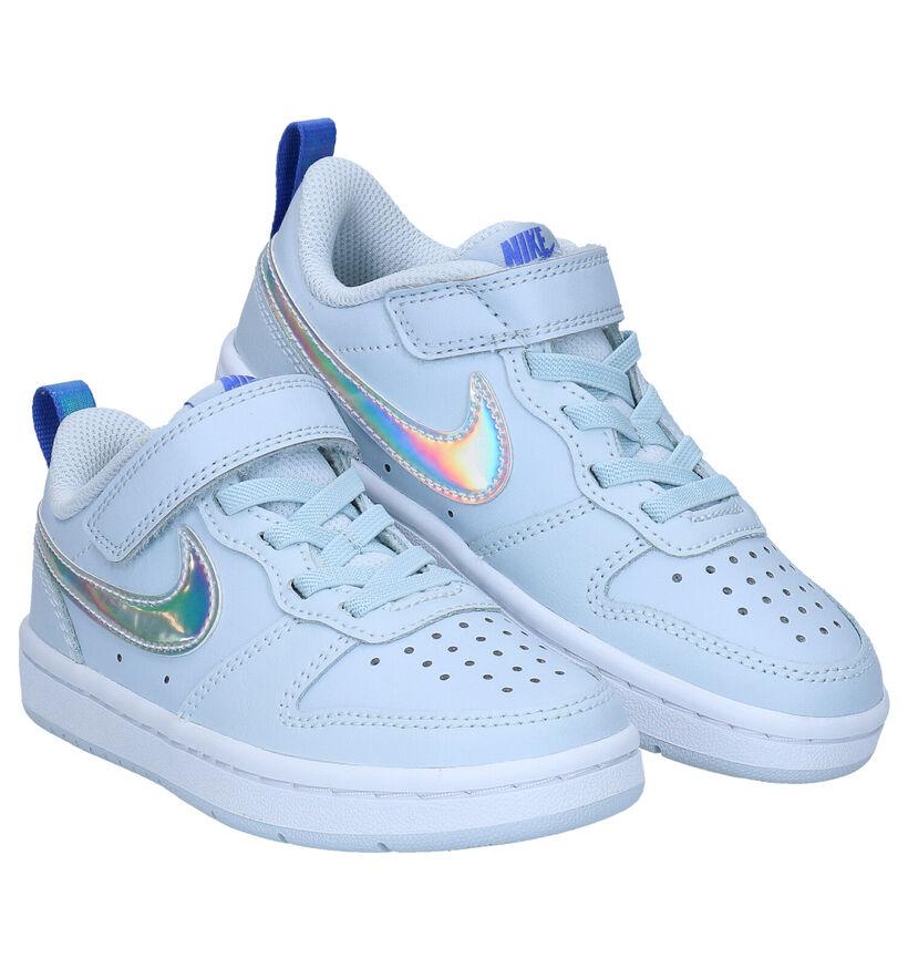 Nike Court Borough Low Lichtblauwe Sneakers in kunstleer (274592)