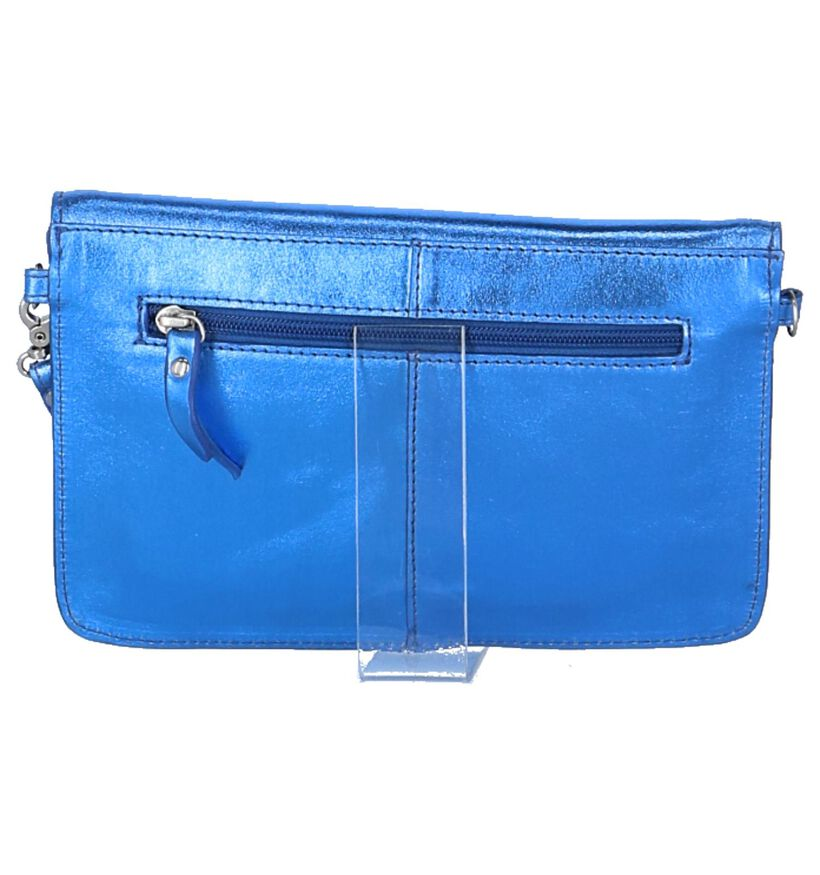 Via Limone Metallic Blauw Clutch Tasje in leer (234029)