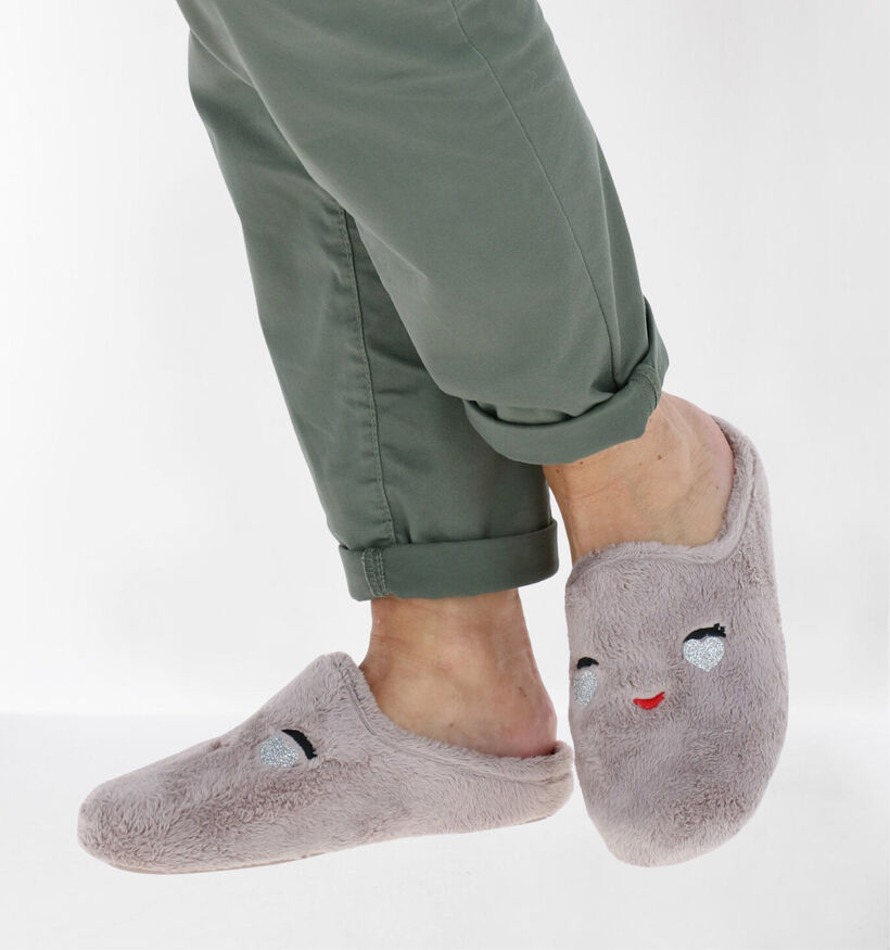 River Woods Taupe Pantoffels in stof (281924)