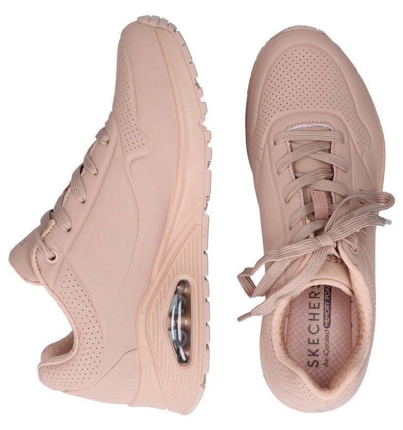 Skechers Uno Ecru Sneakers in kunstleer (295601)