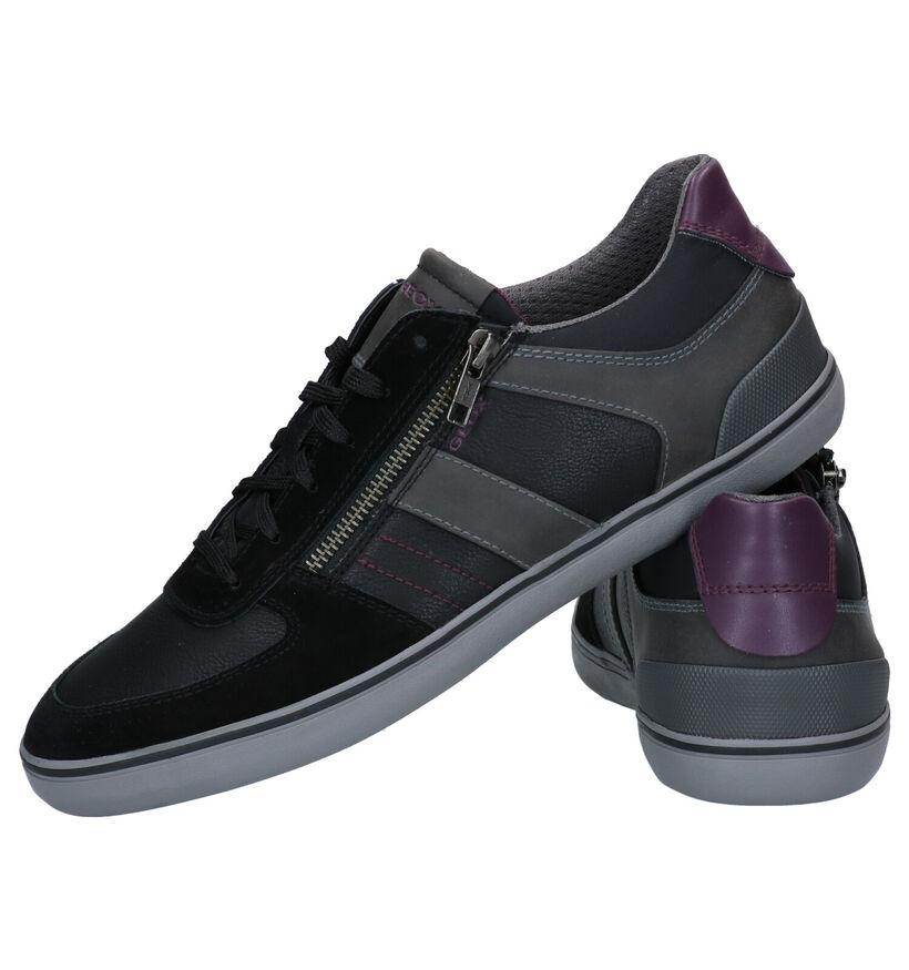 Geox Elver Chaussures à Lacets en Noir en simili cuir (277098)