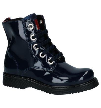Donkerblauwe Laké Boots met Rits en Veter Tommy Hilfiger in kunstleer (225258)