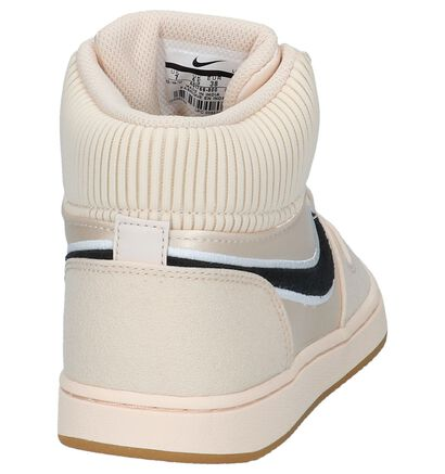 Nike Ebernon Baskets hautes en Beige clair en textile (222187)