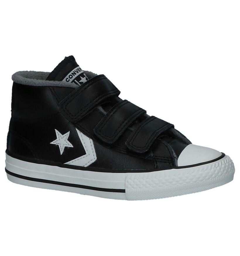 Zwarte Converse Star Player 3V Mid Hoge Sneakers met Velcro in leer (233386)