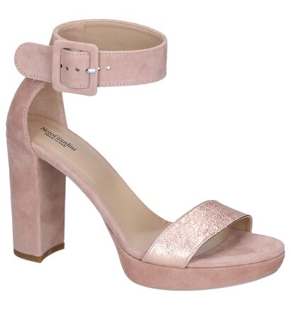 Roze High Heel Sandalen NeroGiardini in daim (244479)