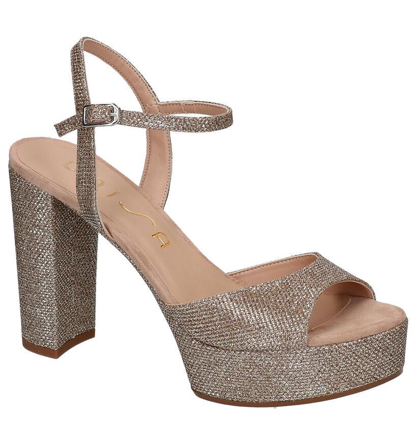 Unisa Vegara Gouden Sandalen in stof (275016)