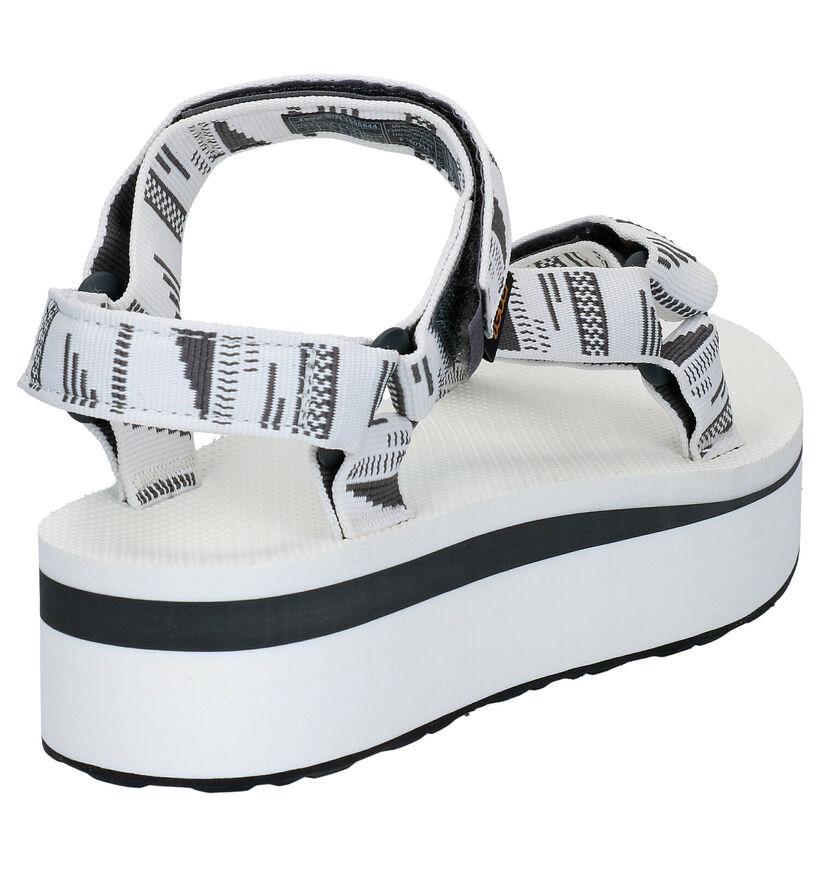 Teva Flatform Sandales en Blanc en textile (270615)
