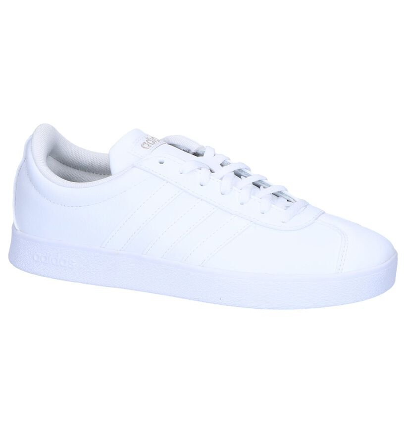 adidas VL Court 2.0 Baskets en Blanc en cuir (252575)