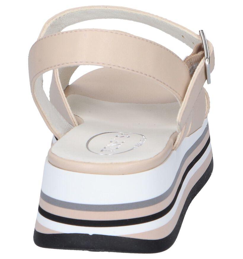 Tine's Sandales à talons en Beige clair en cuir (251750)