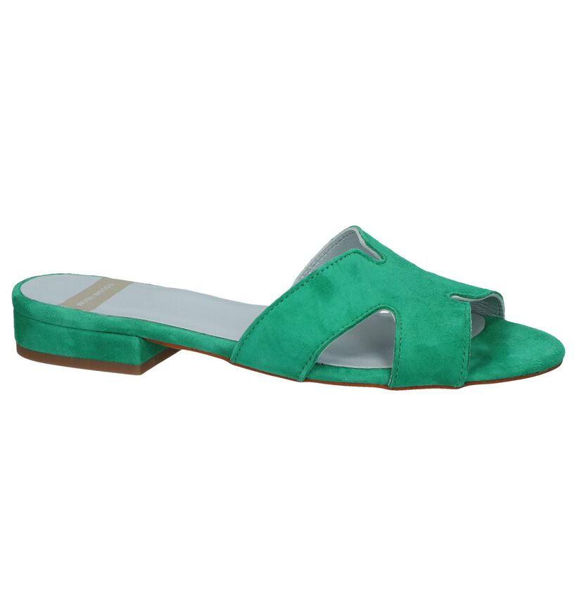 Groene Slippers River Woods Pappi in daim (253169)