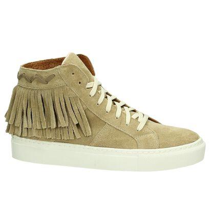 Flair Beige Sneakers met Franjes, Taupe, pdp