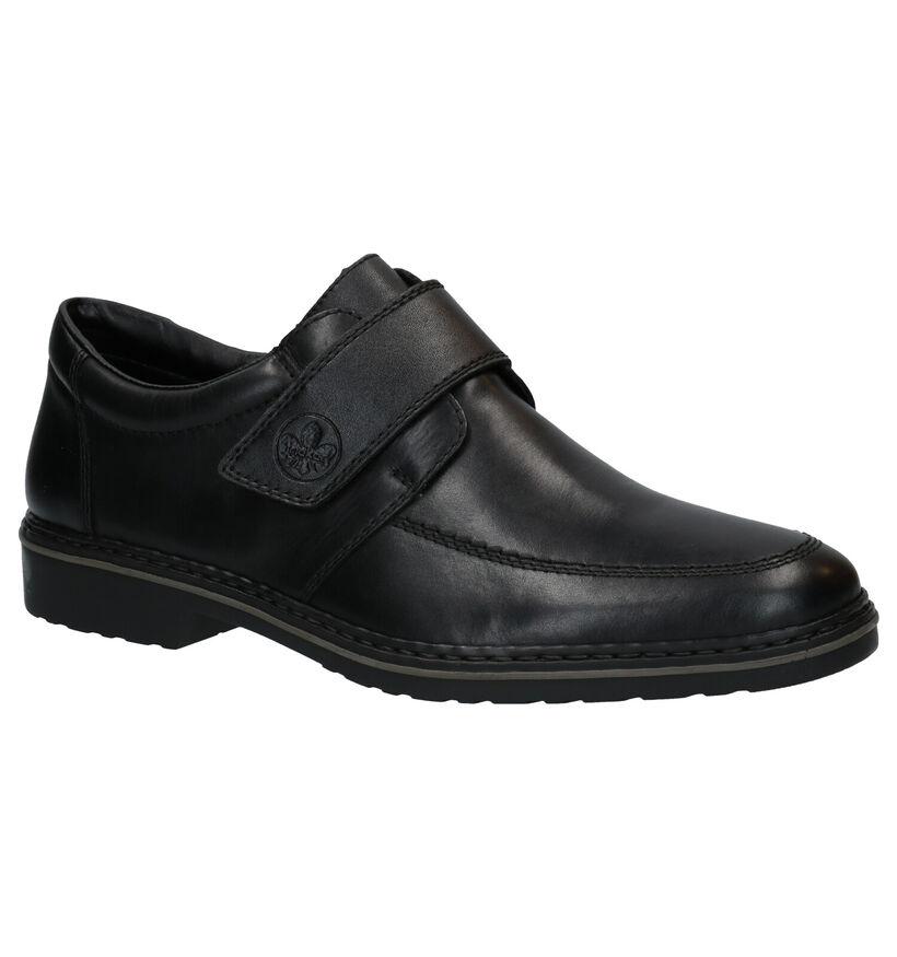 Rieker Zwarte Velcroschoenen in leer (281734)