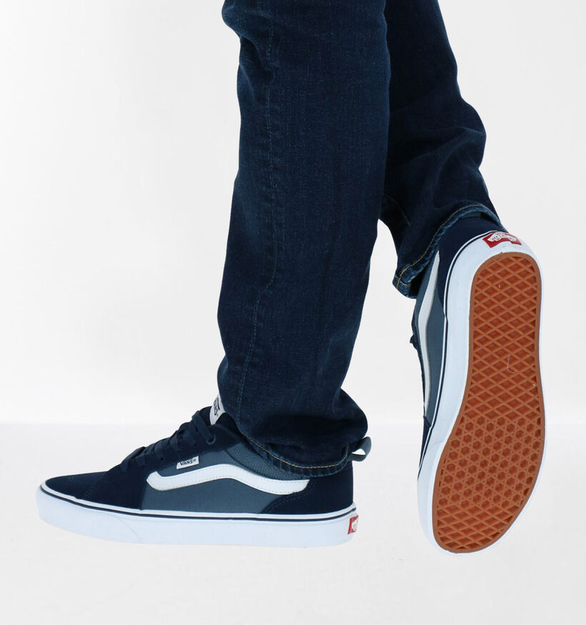 Vans Filmore Baskets de skate en Bleu en textile (277814)