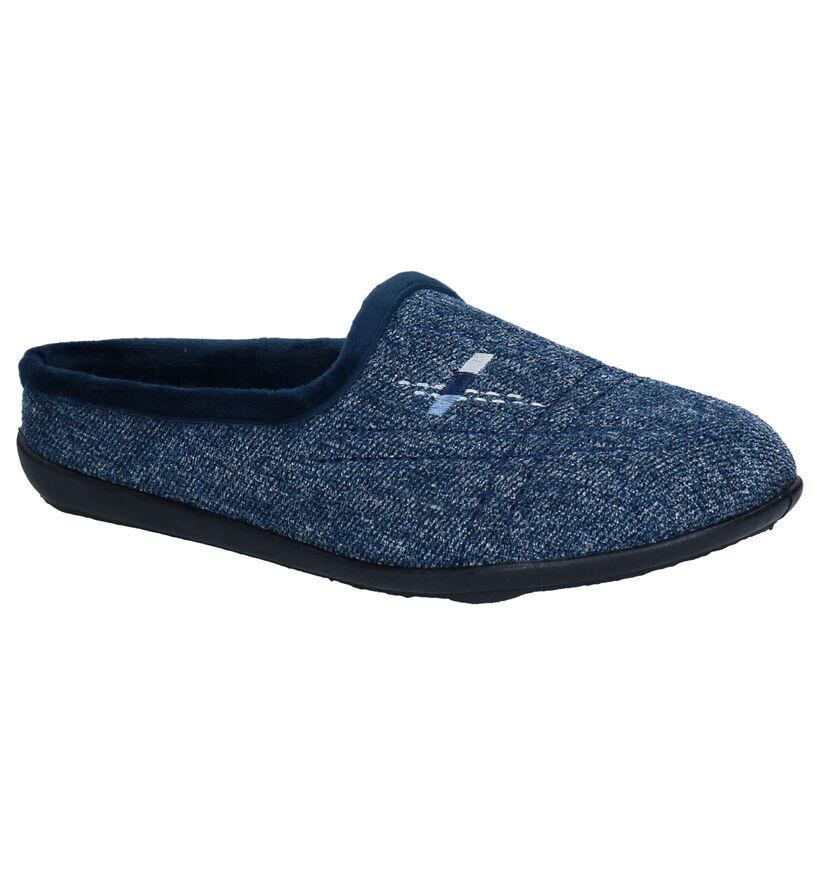Milo & Mila Blauwe Pantoffels in stof (283927)
