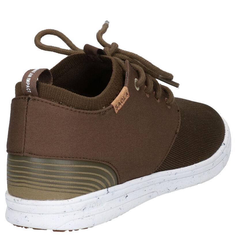 Saola Semnoz III Kaki Slip-on Sneakers in stof (254273)