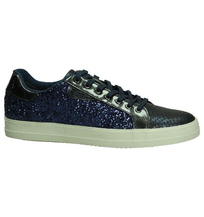 Blauwe Sneaker met Glitter Tamaris , Blauw, pdp