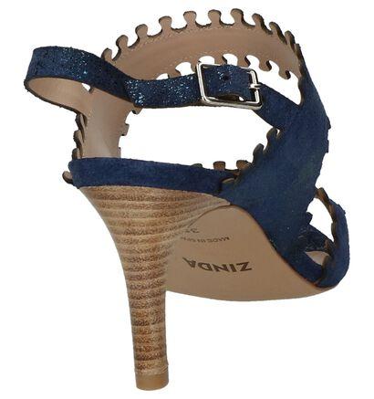 Zinda Sandales à talons en Bleu foncé en cuir (220242)