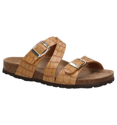 Hampton Bays Nu-pieds plates en Cognac en cuir (266095)