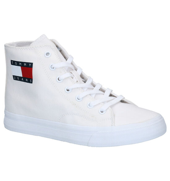 Tommy Hilfiger Mid Cut Lace Up Witte Sneakers