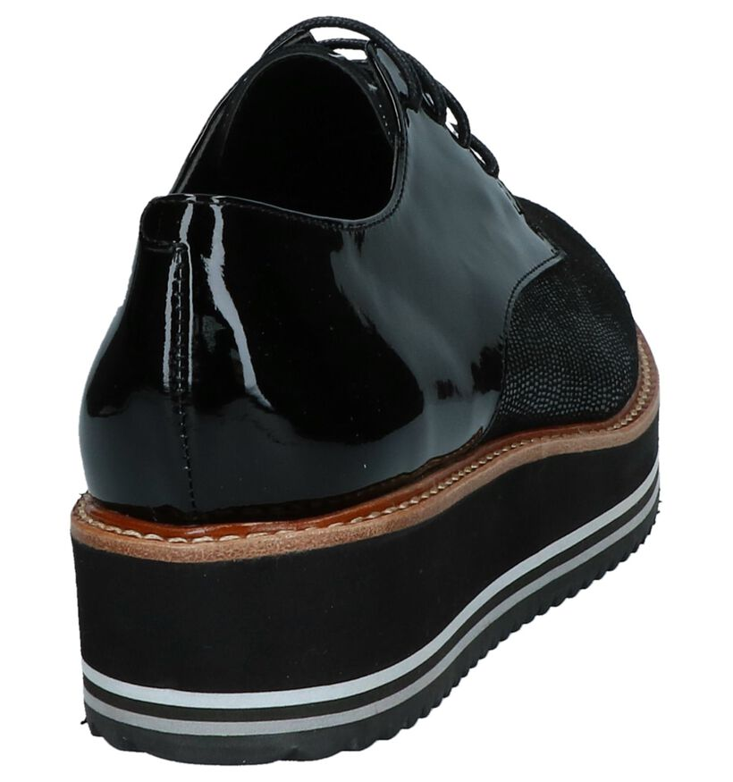 Crinkles Chaussures à lacets en Noir en cuir verni (233424)