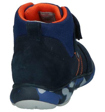 Donkerblauwe Boots met Velcro Geox in daim (223172)