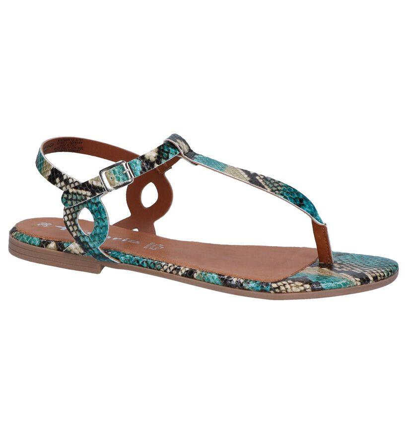 Tamaris Sandales plates en Turquoise en simili cuir (261866)