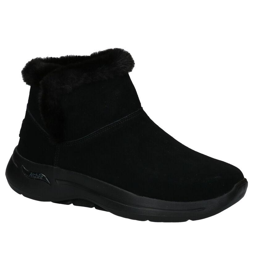 Skechers Go Walk Arch Fit Zwarte Snowboots in daim (279391)