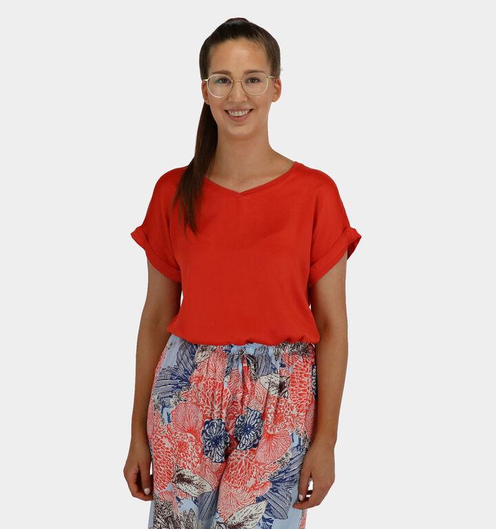 iSilk T-shirt Manches Courtes en Rouge