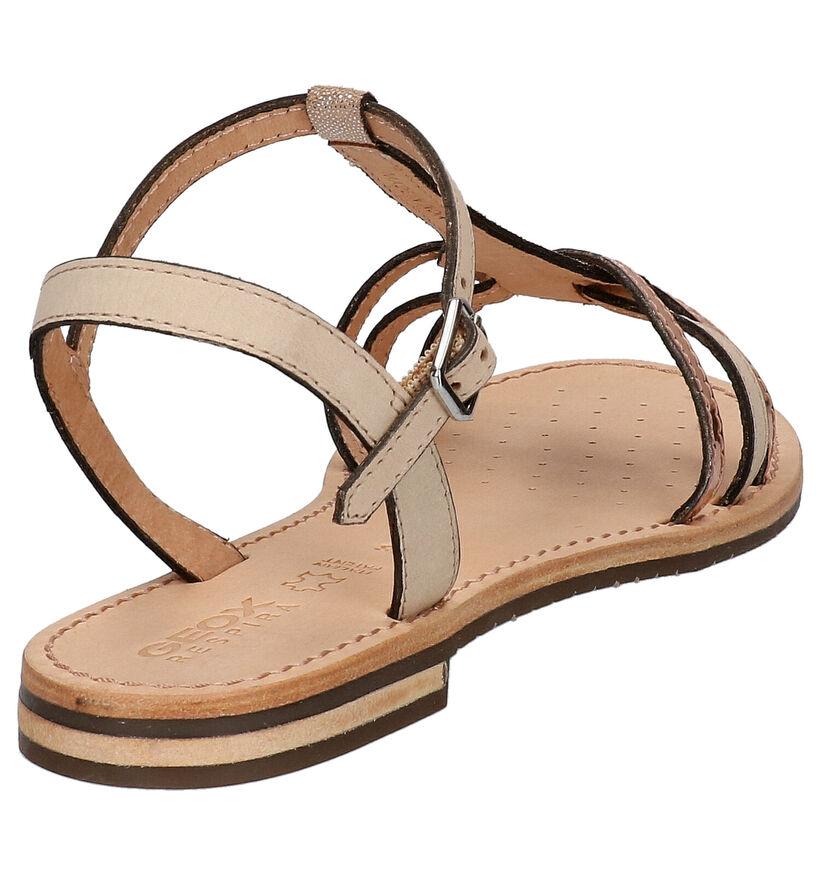 Geox Sandales plates en Or en cuir (266835)