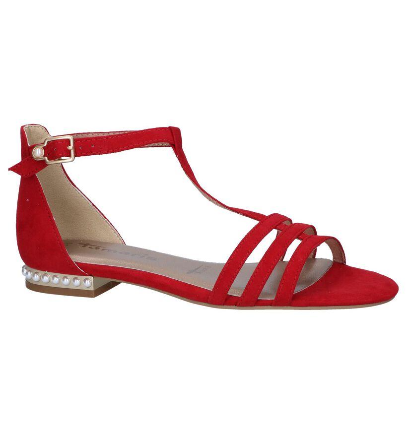 Tamaris Sandales plates en Rouge foncé en textile (243718)