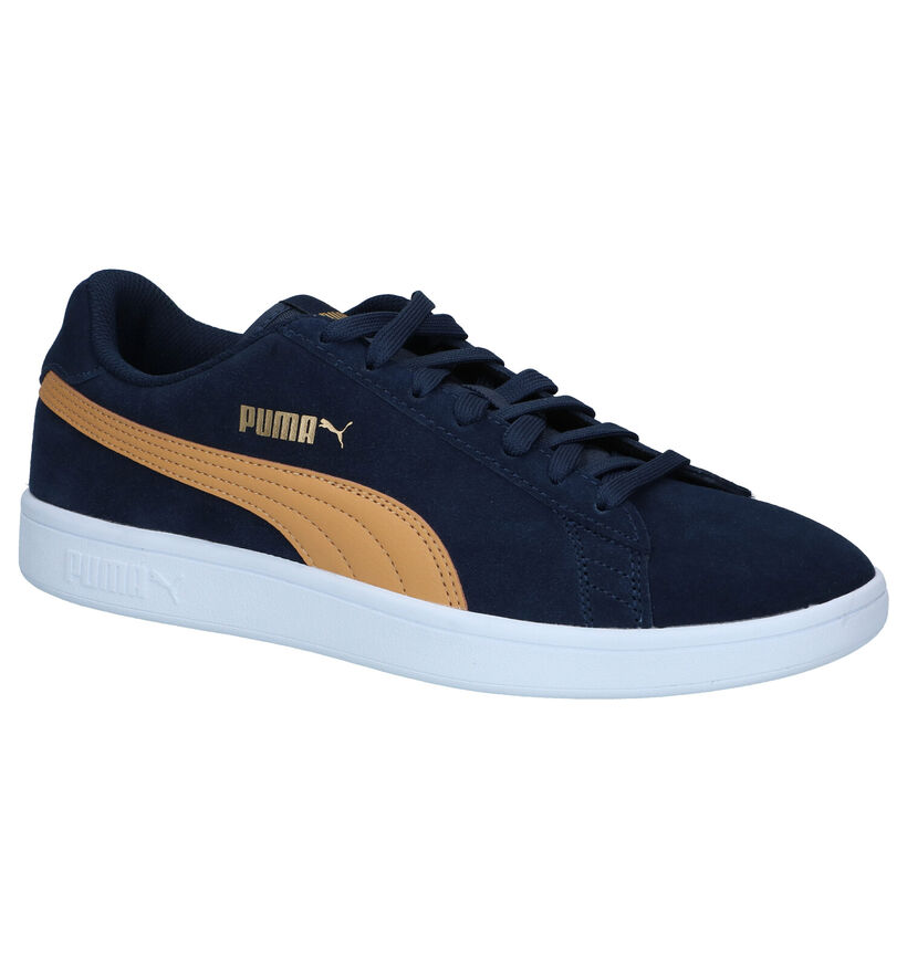 Puma Smash Blauwe Sneakers in daim (288558)