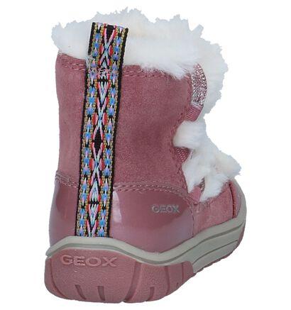 Geox Donker Roze Boots met Rits/Veter in daim (232723)