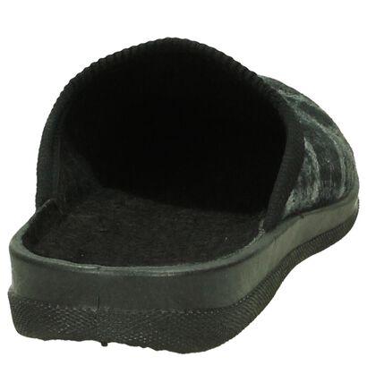 Slippers Comfort Pantoufles ouvertes en Gris foncé en textile (206078)