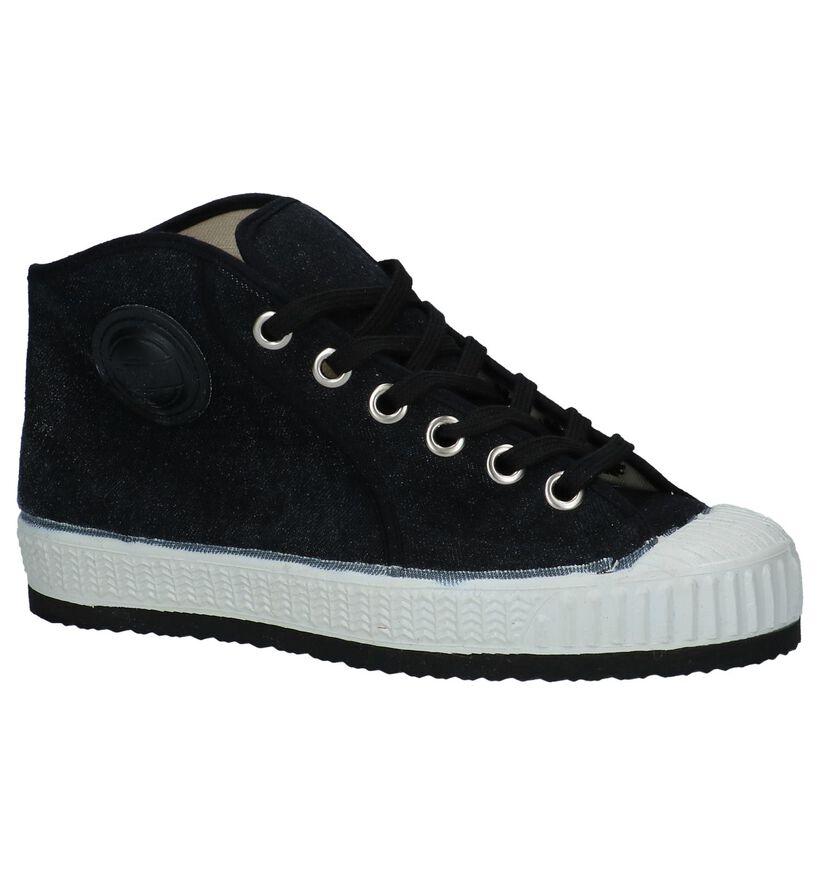Zwarte Hoge Sneakers 0051 Jeans in stof (251497)