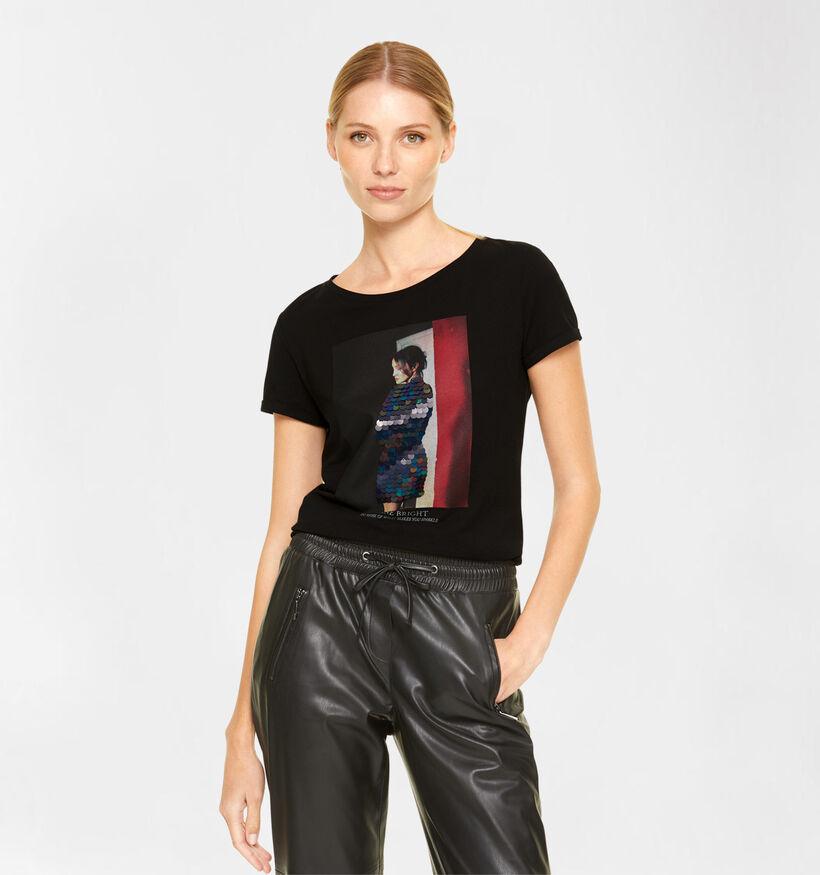 comma T-shirt en Noir (292868)