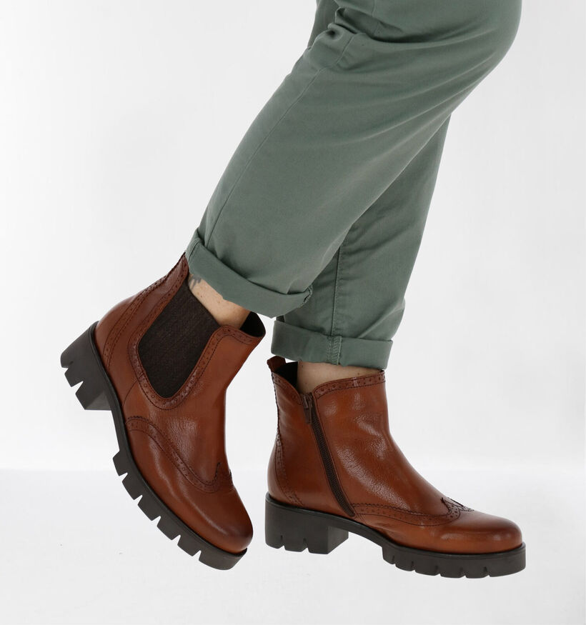 Gabor Best Fitting Bottines en Cognac en cuir (282375)