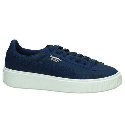 Puma Basket Platform Zwarte Sneakers, Blauw, pdp