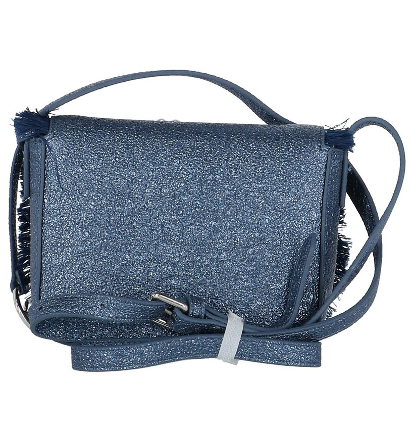 Donkerblauwe Crossbody Tas met Kralen Kisses of Pearl in kunstleer (218405)