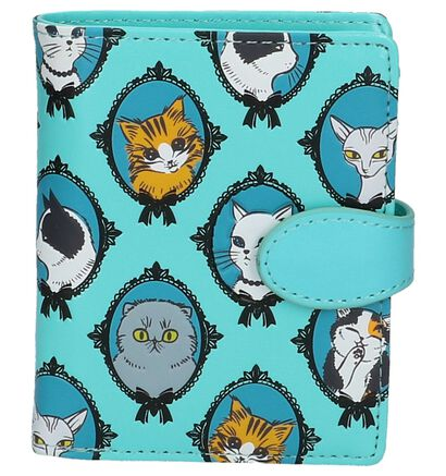 Shagwear Cat Cameo Turquoise Overslagportemonnee in kunstleer (232997)