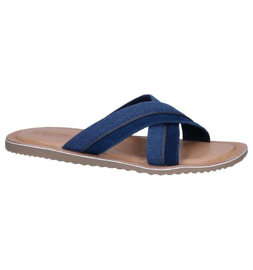Donkerblauwe Slippers Geox in daim (240332)