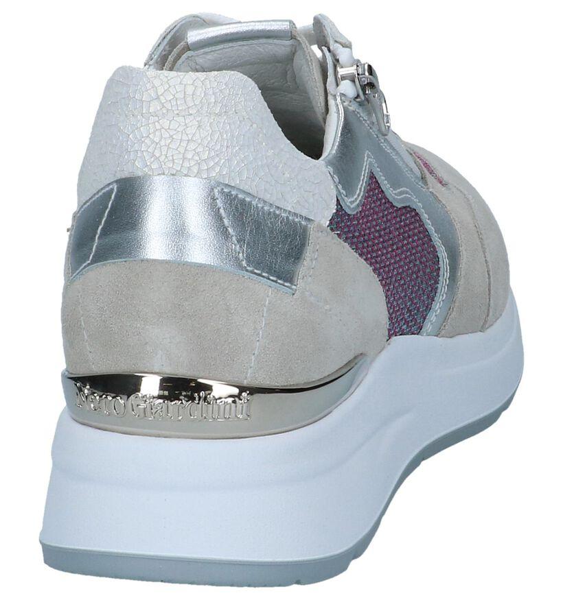 Beige/Zilveren Sneakers NeroGiardini in leer (240762)