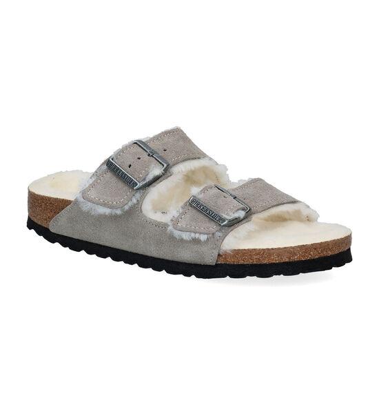 Birkenstock Arizona Fell Grijze Slippers