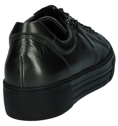 Donkergroene Metallic Lage Sneakers Gabor Optifit in leer (231168)