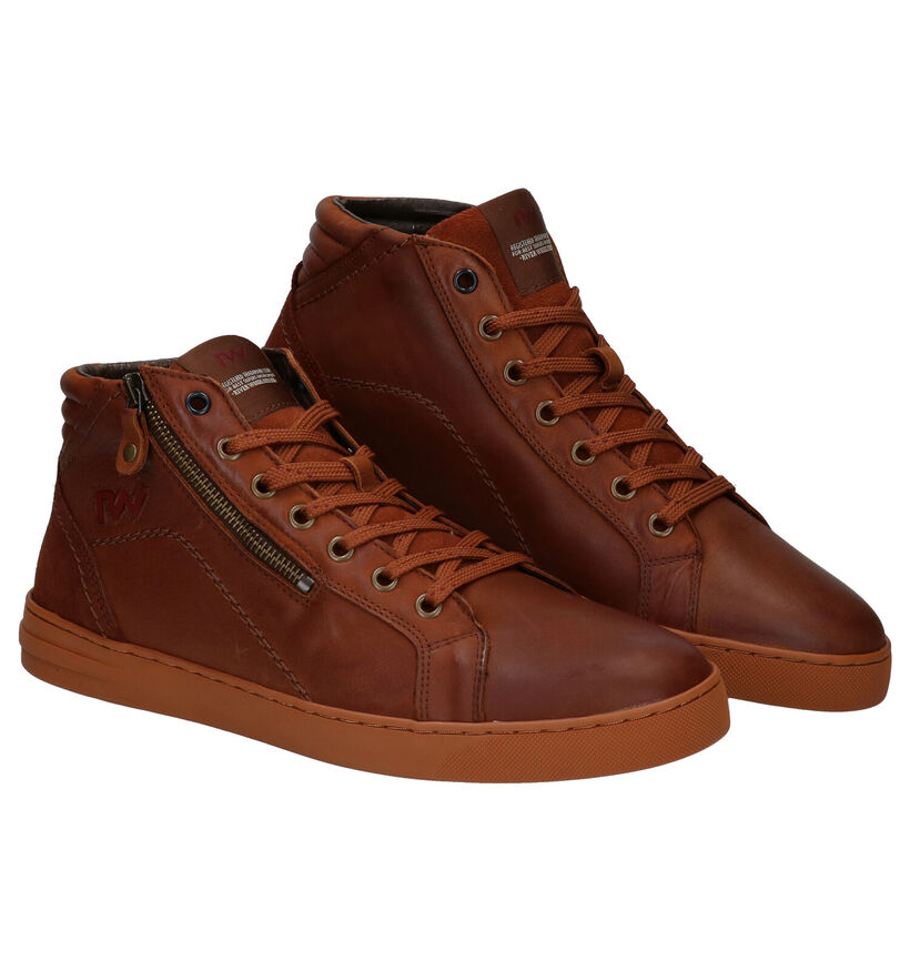 River Woods Faust Chaussures hautes en Cognac en cuir (282046)
